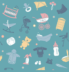 Seamless background with flat baby care symbols vector