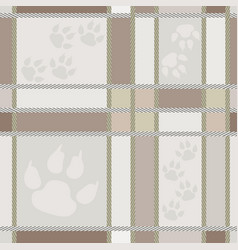 seamless plaid pattern with cat tracks vector image