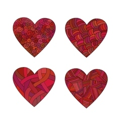 Set doodle red hearts vector
