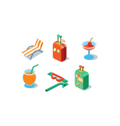 set isometric travel icons beach chair vector image