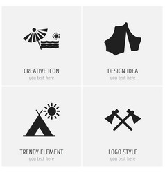 Set of 4 editable trip icons includes symbols vector