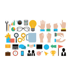 set of office and business icons vector image