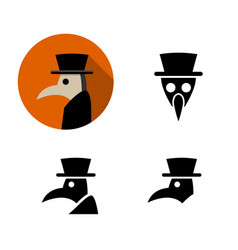 set of plague doctor icons vector image