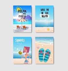 set sunny beach badge isolated typographic design vector image