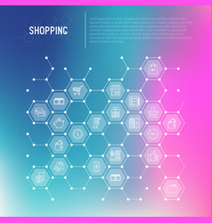 shopping concept in honeycombs vector image