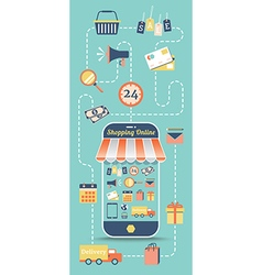 Shopping online with flat icon in retro style vector image