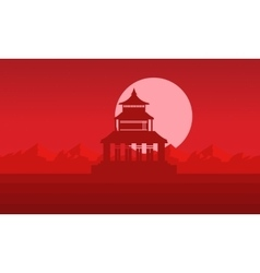 Silhouette of pavilion with big moon vector image