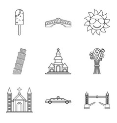 Solemnization icons set outline style vector