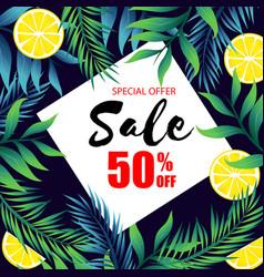 special offer sale 50 off jungle leaf and lemon b vector image