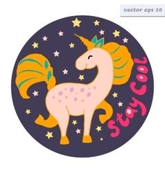 Stay cool unicorn logo vector
