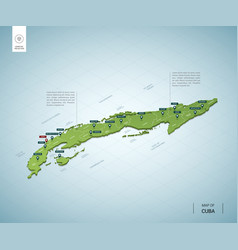 stylized map cuba isometric 3d green map with vector image