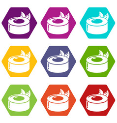 sushi concept icons set 9 vector image