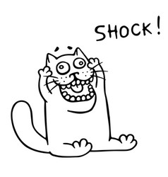 thick funny cat in shock vector image