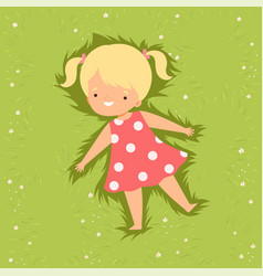 Top view adorable smiling girl lying down on vector