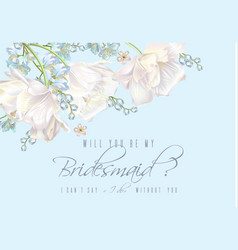 Tulip bridesmaid card blue vector