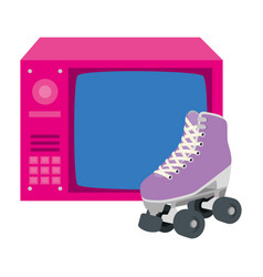 Tv nineties retro with roller skates isolated vector
