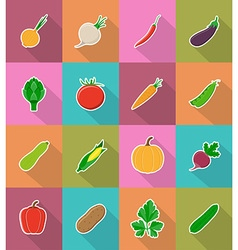 Vegetables flat icons 18 vector