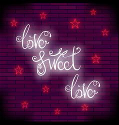 vintage colorful neon lettering romantic love vector image