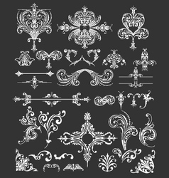 Vintage floral frames and lines elements vector