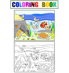 Wetland landscape with animals coloring book and vector