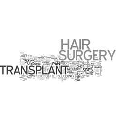 what are the side effects of hair transplant vector image