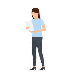 woman holding document papers vector image