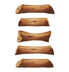Wood logs and planks set vector