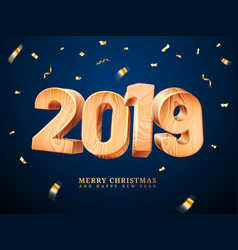 wooden 2019 for merry christmas and new year vector image