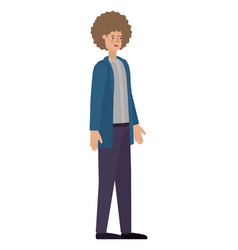 young man with afro avatar character vector image