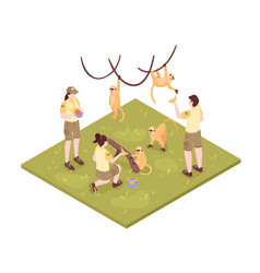 Zoo keepers isometric composition vector