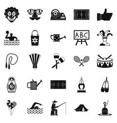 Children entertainment icons set simple style vector
