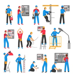 Electric People Decorative Icons Set vector image