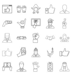 sentiment icons set outline style vector image