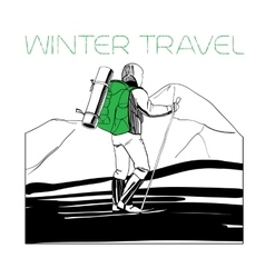 skier in the mountains with tent vector image