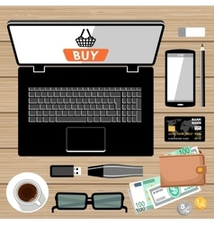 Workplace flat lay vector