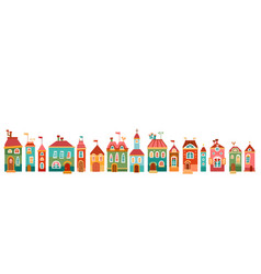border with cute house in children style vector image