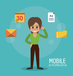 color poster of mobile technology with woman stand vector image vector image