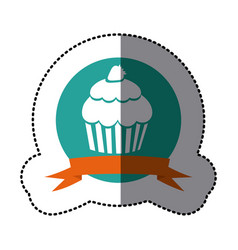 emblem muffin with strawberry icon vector image vector image