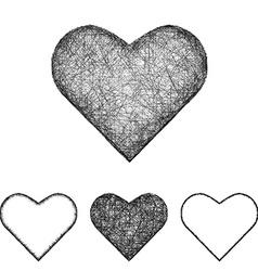 Heart icon set - sketch line art vector