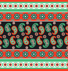 paisley flower pattern seamless row vector image