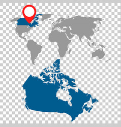 detailed map of canada and world map navigation vector image