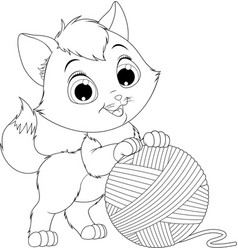 funny kitten with a ball of threads vector image vector image