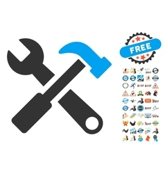 Hammer And Wrench Icon With 2017 Year Bonus vector image vector image