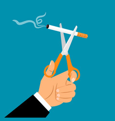 hands holding scissors cuting cigarette vector image