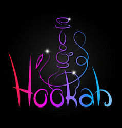 hookah inscription color abstract vector image vector image