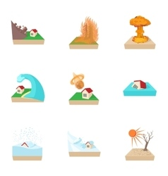 Natural catastrophe icons set cartoon style vector image vector image