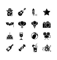 Party holidays and birthday black icons vector image