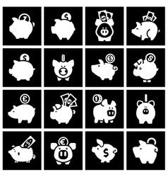 Piggy bank set white icons on black squares vector image