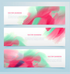 three watercolor abstract banners set vector image