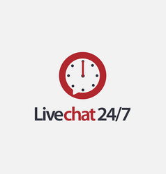 24 hours chat logo icon template vector